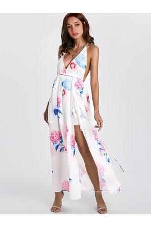 YOINS Sexy V-neck Random Floral Print Open Back Slit Dress