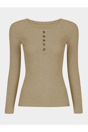 YOINS Light- Long Sleeves Button Clourse Round Neck T-shirt
