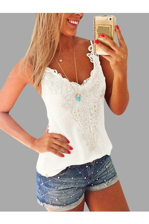 YOINS Women Camisoles - White Lace Insert V-neck Camis