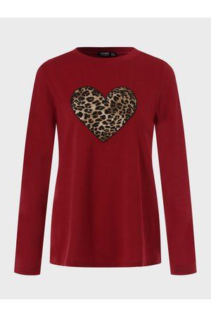 YOINS Women Long Sleeve - Red Leopard Heart Print Crew Neck Long Sleeves Tee