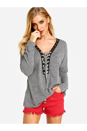 YOINS Sexy Deep V-neck Lace-up Front Casual T-shirts in Heather