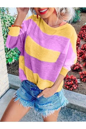 YOINS Women Long Sleeve - Multicolor Color Block Round Neck Long Sleeves Tee