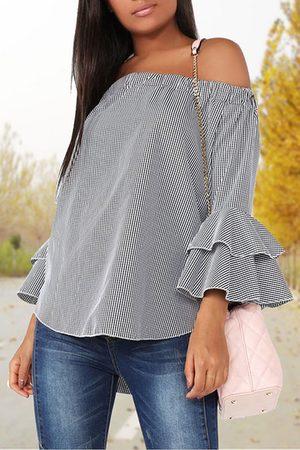 YOINS Grid pattern Off The Shoulder Long Flared Sleeves Top