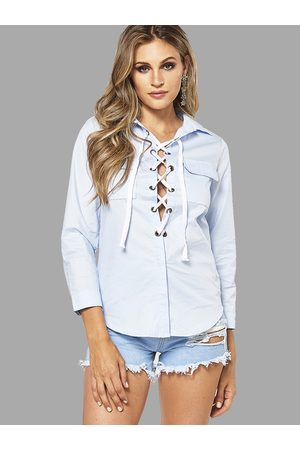 YOINS Women Blazers - Lapel Collar Lace-up Design Shirt