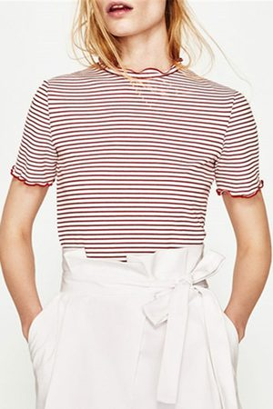 YOINS Red Stripe Round Collar Casual T-Shirt
