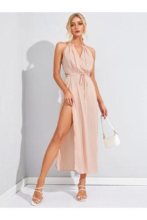 YOINS Women Midi Dresses - Sleeveless Back Lace-up Side Split Beach Midi Dress In