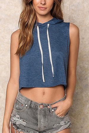 YOINS Women Crop Tops - Sleeveless Crop Top whit hoodie