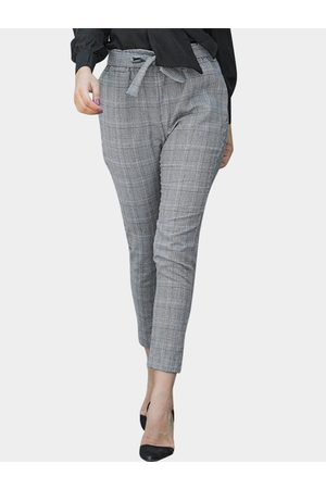YOINS Women Skinny Pants - Grid Skinny Leg Pants with Belt