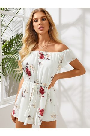YOINS Off the Shoulder Random Floral Print Drawstring Waist Playsuit