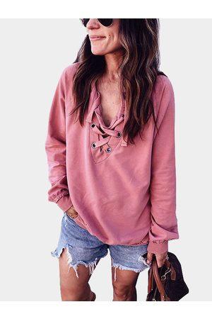 YOINS V-neck Lace-up Design Long Sleeves Shirt