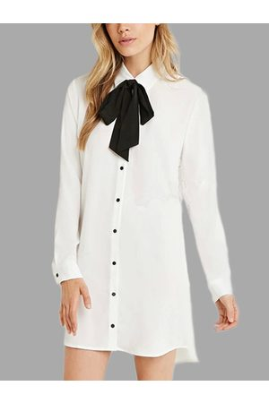 YOINS Women Work Dresses - Classic Collar Long Sleeves Bowknot Dress