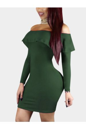 YOINS Army Sexy Off Shoulder Flouncy Hem Bodycon Party Dress