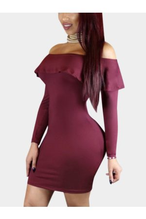 YOINS Women Bodycon Dresses - Sexy Off Shoulder Flouncy Hem Bodycon Party Dress