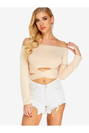 YOINS Women Long Sleeve - Bow Tie Design Off The Shoulder Long Sleeves Top