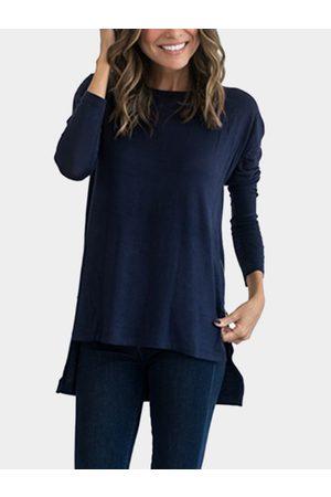 YOINS Women Long Sleeve - Round Neck Long Sleeves Slit Hem Top