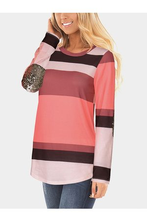 YOINS Women Long Sleeve - Stitching Sequins Embellished Contrast Color Stripe T-shirt