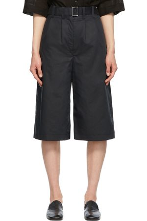 Lemaire Navy Silk Pleated Bermuda Shorts