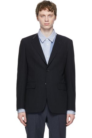 Comme des Garçons Homme Deux Navy Wool Twisted Stripe Blazer
