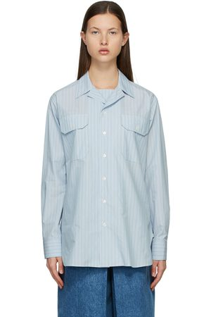 Maison Margiela Blue & White Poplin Stripe Shirt