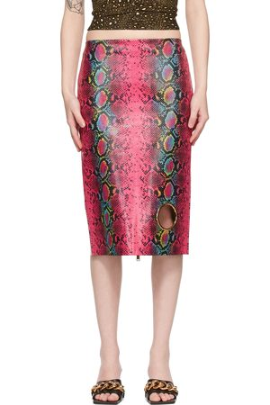 Versace Pink Leather Snake Skirt