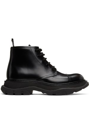 Alexander McQueen Shiny Tread Lace-Up Boots