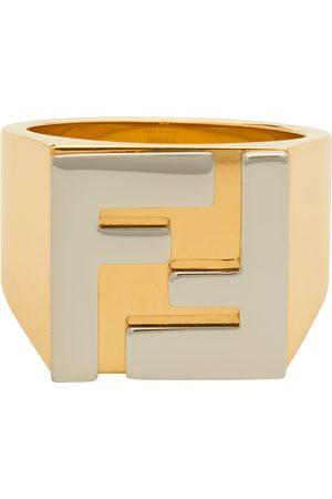 Fendi Gold & Silver 'Forever Fendi' Logo Signet Ring