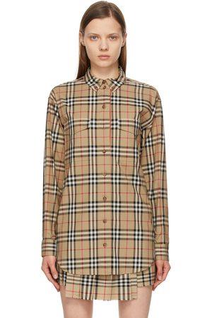 Burberry Beige Vintage Check Oversized Turnstone Shirt