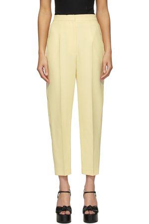 Alexander McQueen Yellow Wool & Silk High-Waisted Slim Trousers