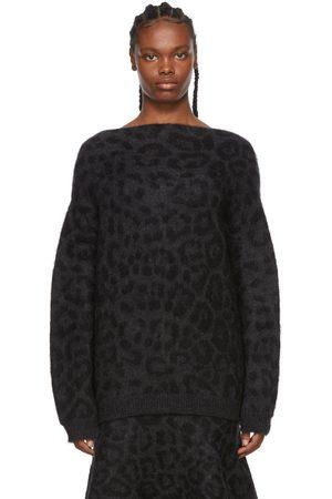 Valentino Black & Grey Mohair Leopard Sweater