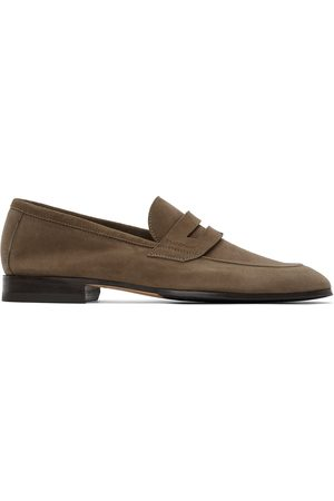 Paul Stuart Taupe Suede Macao Penny Loafers