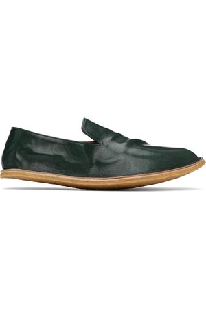 Dries Van Noten Green Crinkled Leather Loafers