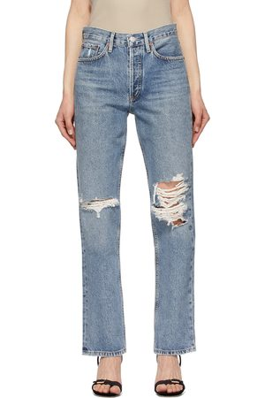 AGOLDE Blue Lana Mid-Rise Vintage Straight Jeans