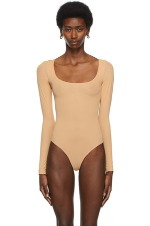 SKIMS Beige Jelly Sheer Long Sleeve Bodysuit