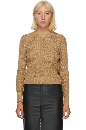 Saint Laurent Gold Tweed Crewneck Sweater