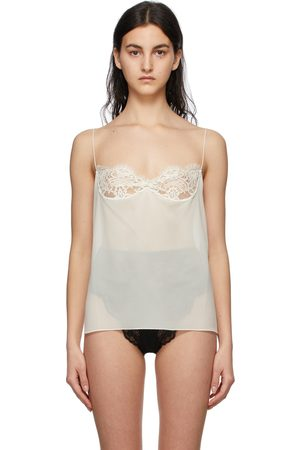 Saint Laurent White Silk Georgette Lace Camisole
