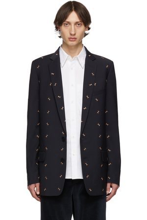 Tibi SSENSE Exclusive Navy Ant Long Blazer