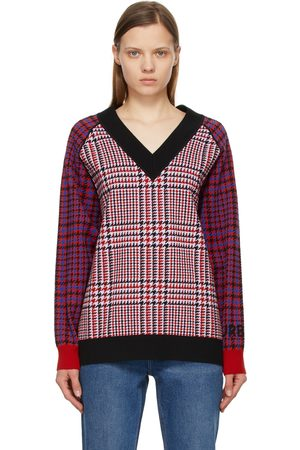 Burberry & Black Wool Houndstooth Check V-Neck Sweater