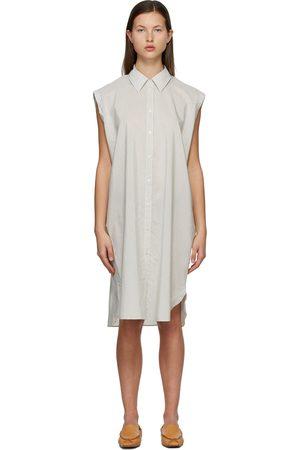 Acne Studios White & Black Striped Shirt Dress