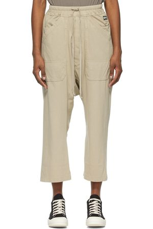Rick Owens Drkshdw Beige Cropped Long Drawstring Lounge Pants