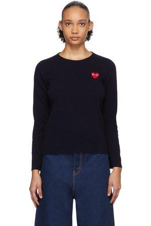 Comme des Garçons Play Navy Heart Patch Sweater