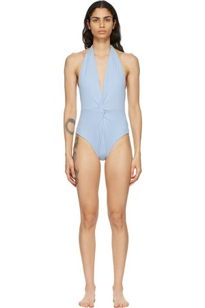 GANNI Blue Recycled Twist One-Piece Swimsuit
