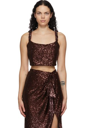 Balmain Brown Sequinned Cropped Tank Top