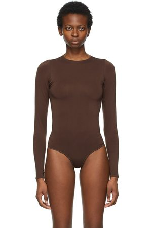 SKIMS Brown Essential Thong Long Sleeve Bodysuit