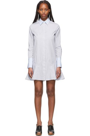 Victoria Victoria Beckham Navy & Patchwork Flounce Hem Shirt Dress