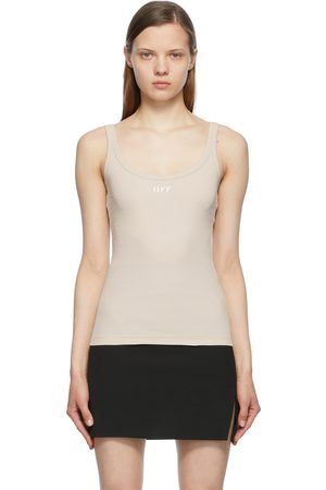 Off-White Taupe Ribbed Tank Top