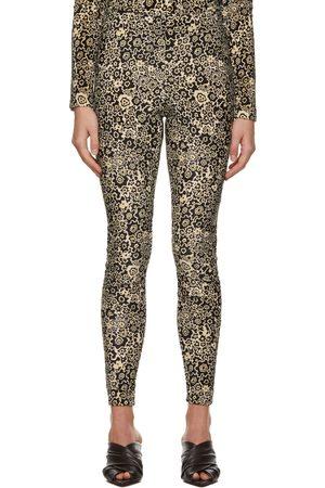 Rosetta Getty Brown Velvet Printed Leggings