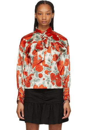 GANNI Red & Silk Floral Oversized Blouse