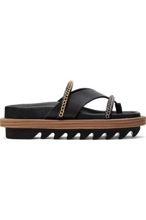 Sacai Leather Wedge Thong Sandals