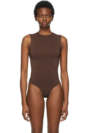SKIMS Brown Essential Thong Bodysuit