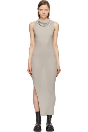 Rick Owens Grey Merino Cowl Neck Dress